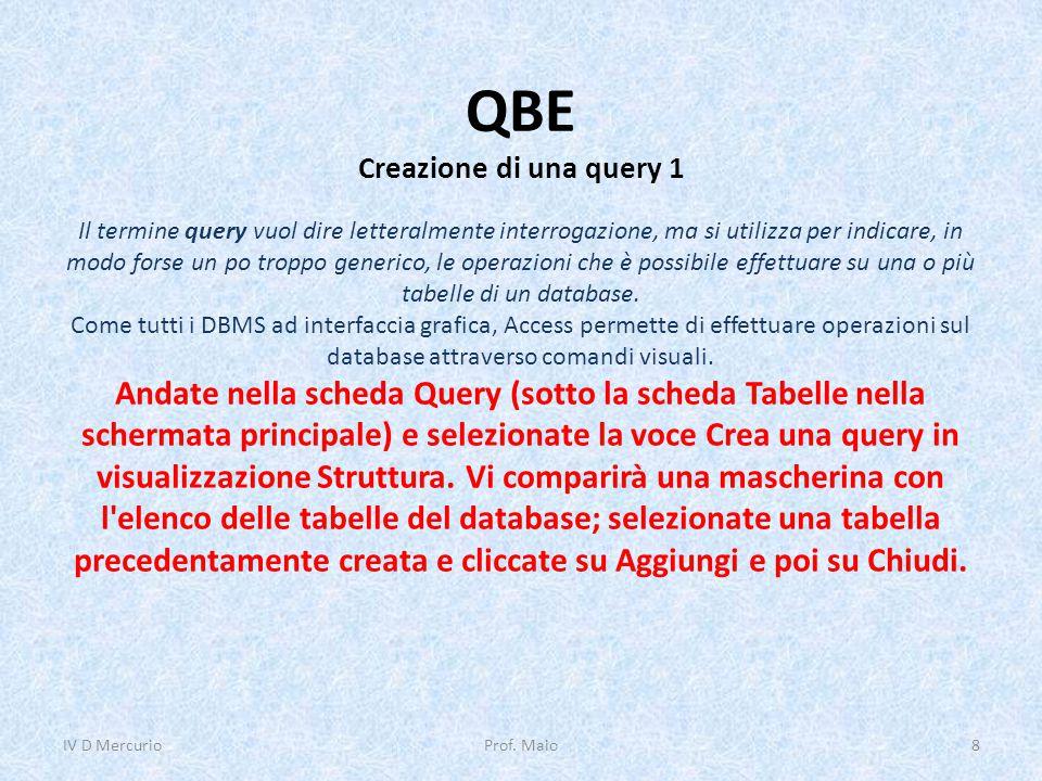 QBE Creazione di una query 1