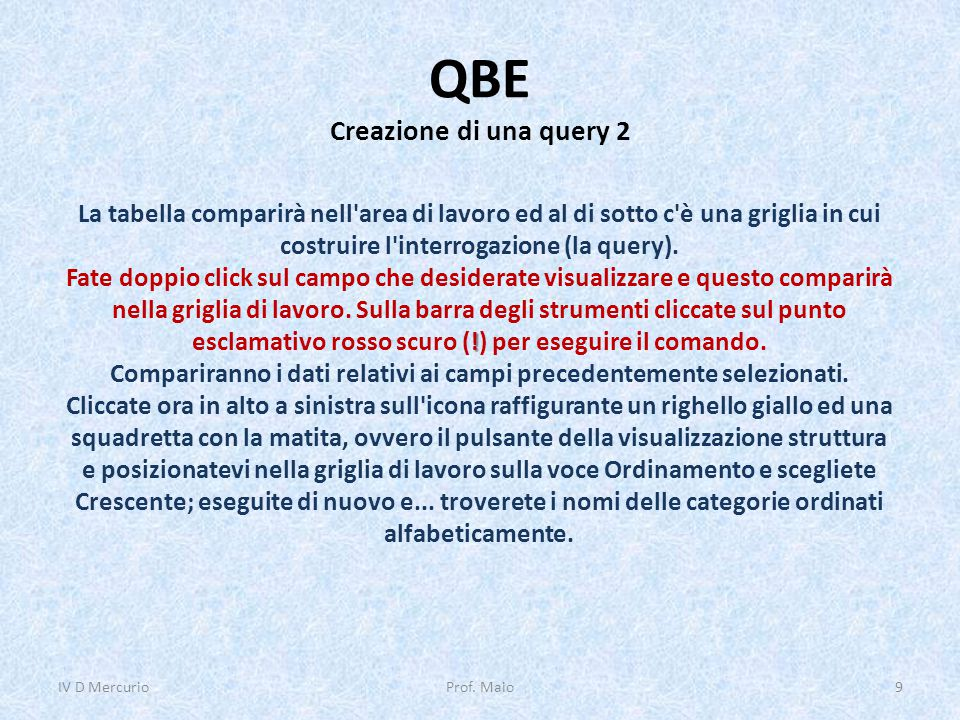 QBE Creazione di una query 2