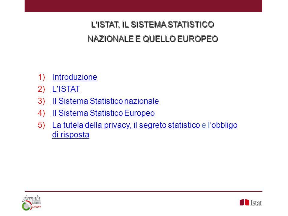 L ISTAT, IL SISTEMA STATISTICO NAZIONALE E QUELLO EUROPEO