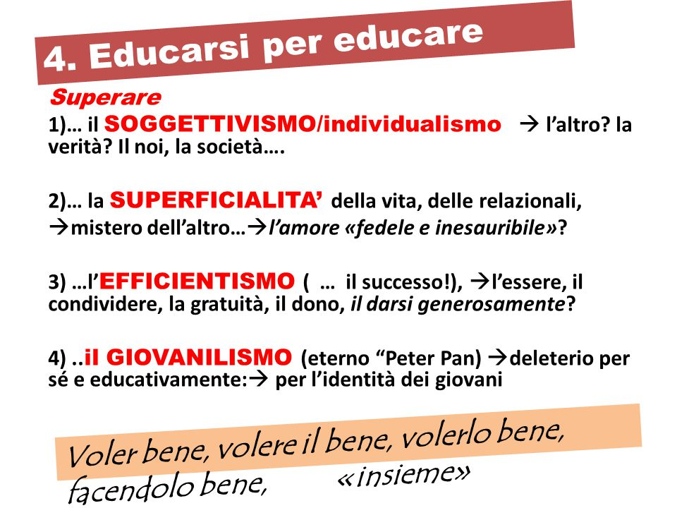 4. Educarsi per educare Superare. … il SOGGETTIVISMO/individualismo  l'altro la verità Il noi, la società….