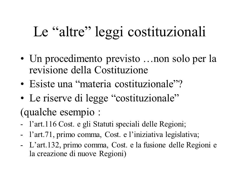 Le altre leggi costituzionali