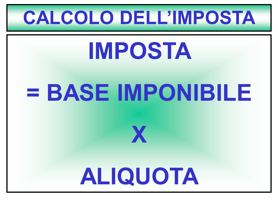 IMPOSTA = BASE IMPONIBILE X ALIQUOTA