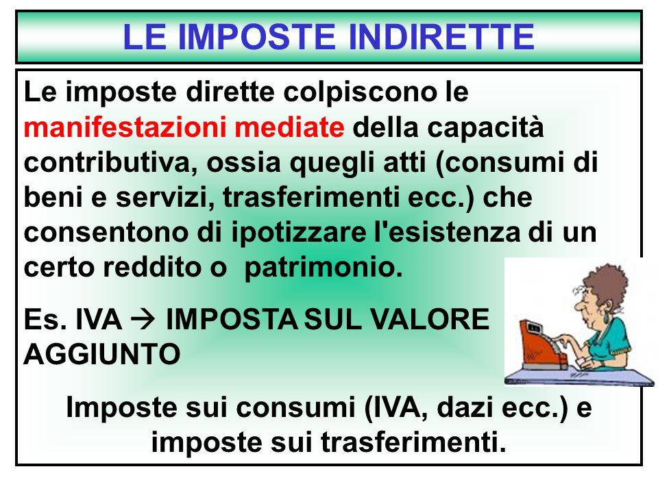 Imposte sui consumi (IVA, dazi ecc.) e imposte sui trasferimenti.