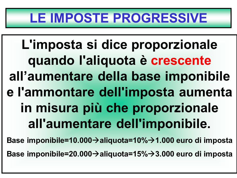 LE IMPOSTE PROGRESSIVE
