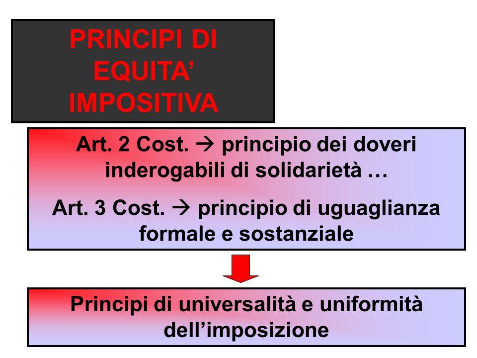 PRINCIPI DI EQUITA' IMPOSITIVA