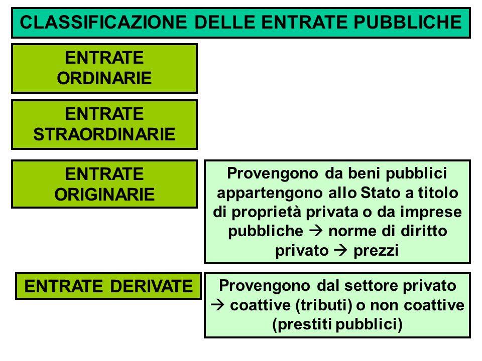 CLASSIFICAZIONE DELLE ENTRATE PUBBLICHE ENTRATE STRAORDINARIE