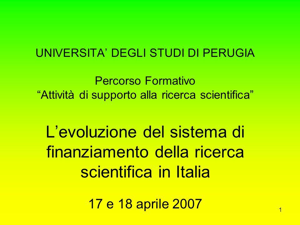 UNIVERSITA' DEGLI STUDI DI PERUGIA Percorso Formativo Attività di supporto alla ricerca scientifica L'evoluzione del sistema di finanziamento della ricerca scientifica in Italia 17 e 18 aprile 2007