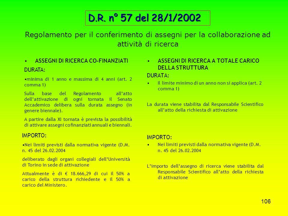 D.R. n° 57 del 28/1/2002 Regolamento per il conferimento di assegni per la collaborazione ad attività di ricerca.