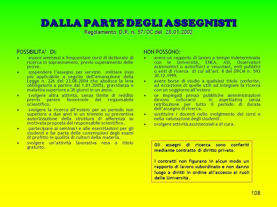 DALLA PARTE DEGLI ASSEGNISTI Regolamento D.R. n. 57/OC del 28.01.2002