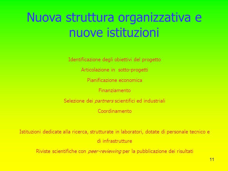 Nuova struttura organizzativa e nuove istituzioni