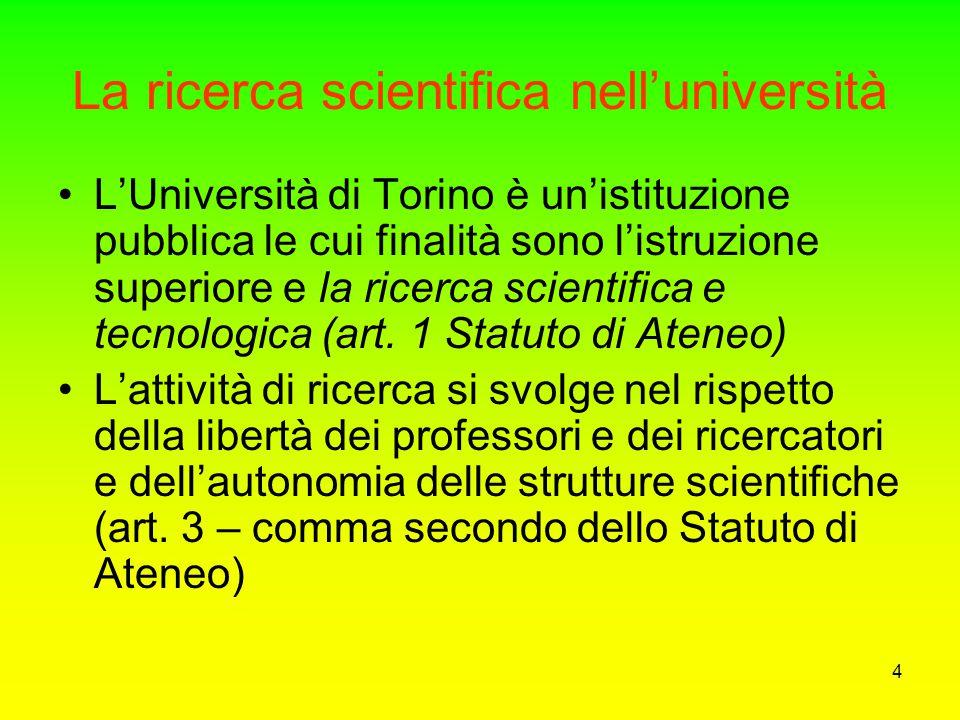 La ricerca scientifica nell'università