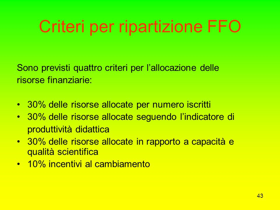 Criteri per ripartizione FFO