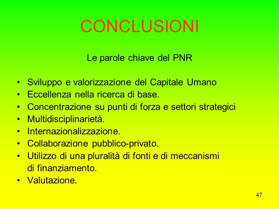 Le parole chiave del PNR
