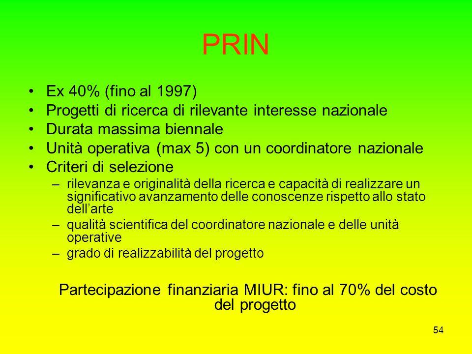 Partecipazione finanziaria MIUR: fino al 70% del costo del progetto
