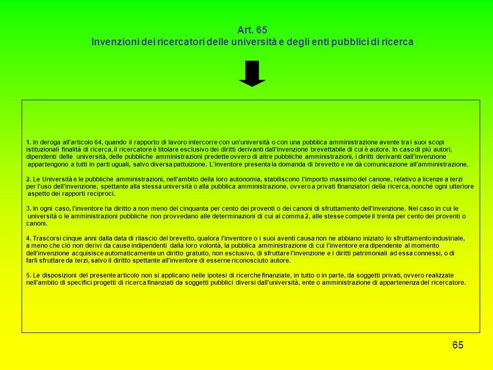 Art. 65 Invenzioni dei ricercatori delle università e degli enti pubblici di ricerca.