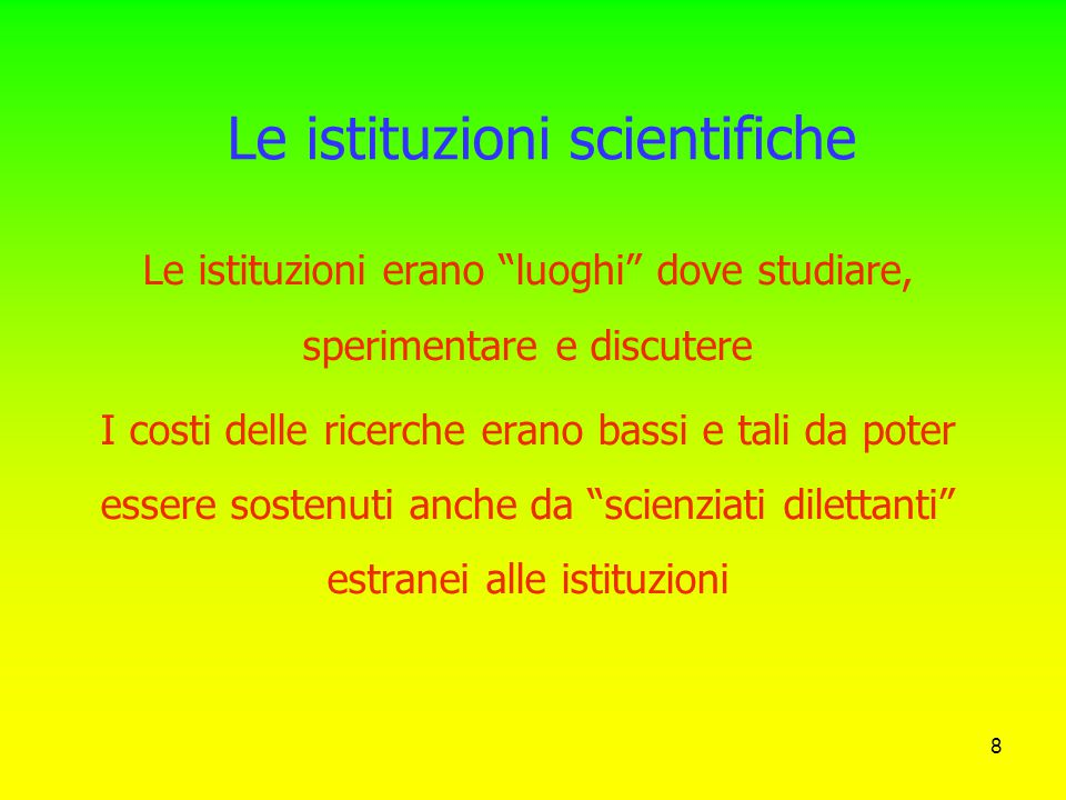 Le istituzioni scientifiche