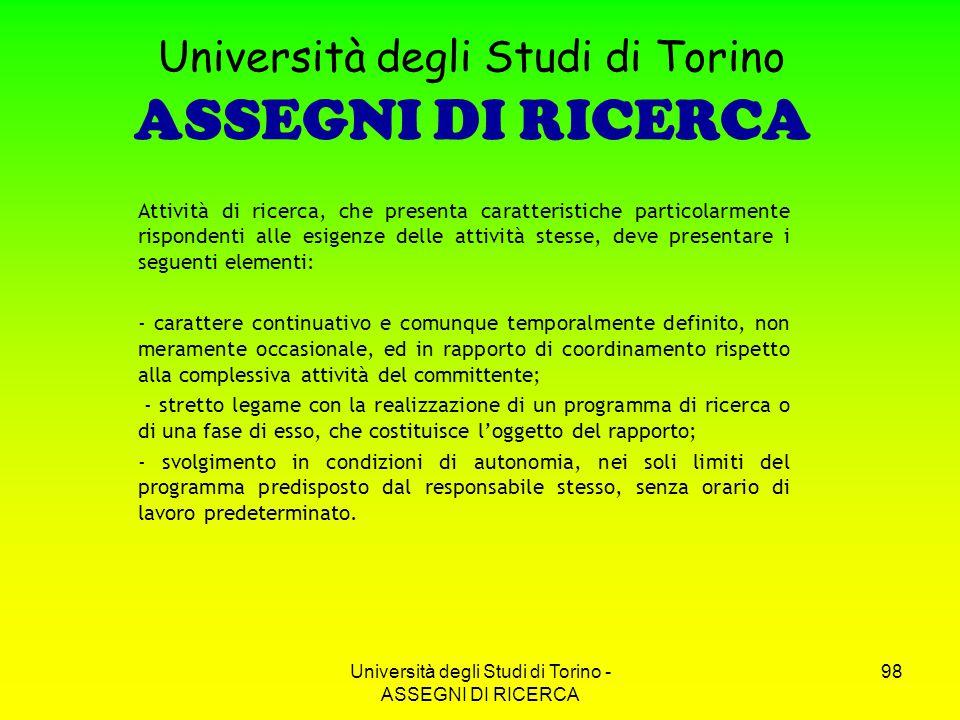 Università degli Studi di Torino ASSEGNI DI RICERCA