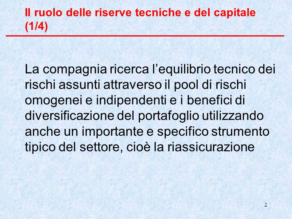 Il ruolo delle riserve tecniche e del capitale (1/4)