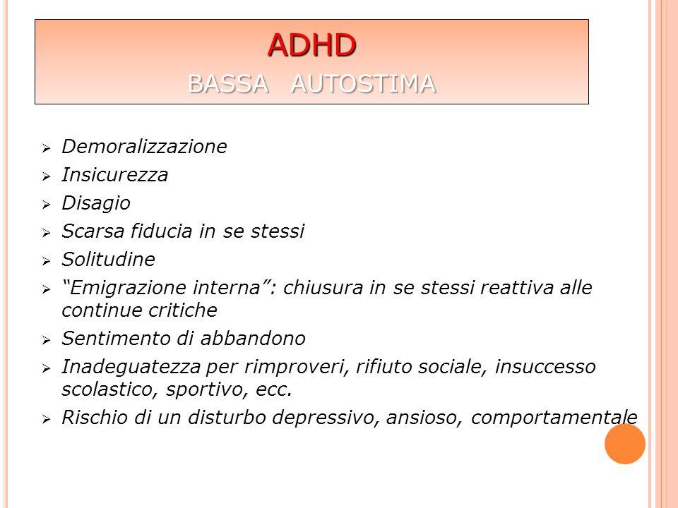 ADHD bassa autostima Demoralizzazione Insicurezza Disagio