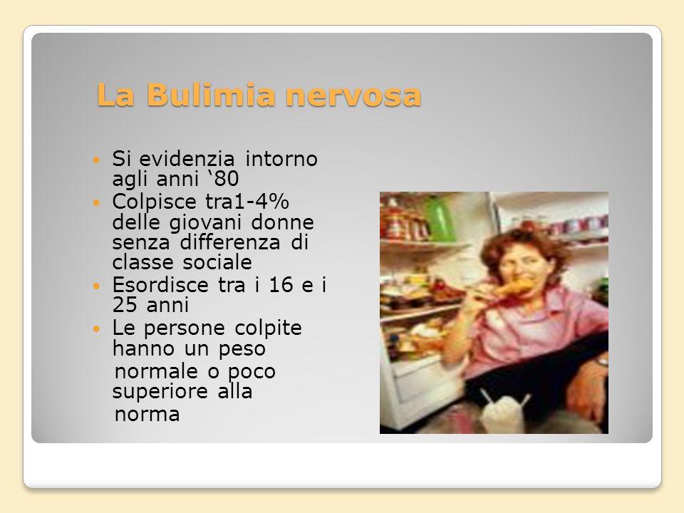 La Bulimia nervosa Si evidenzia intorno agli anni '80