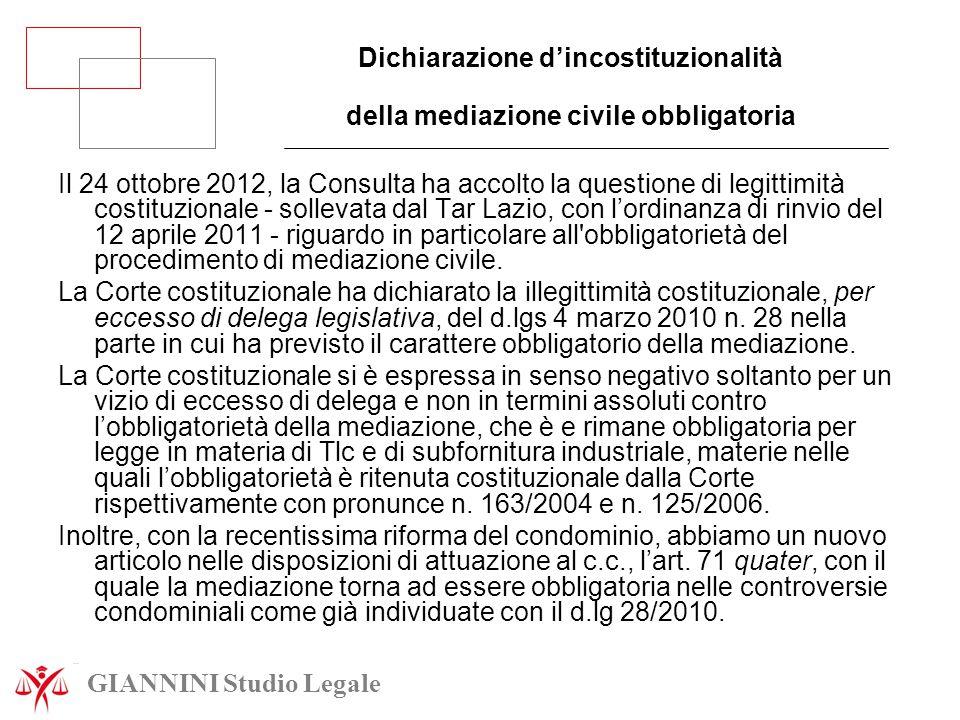Dichiarazione d'incostituzionalità della mediazione civile obbligatoria