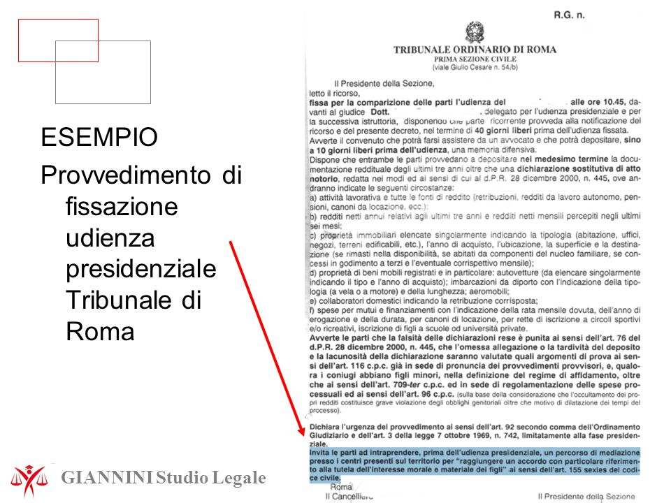 Provvedimento di fissazione udienza presidenziale Tribunale di Roma