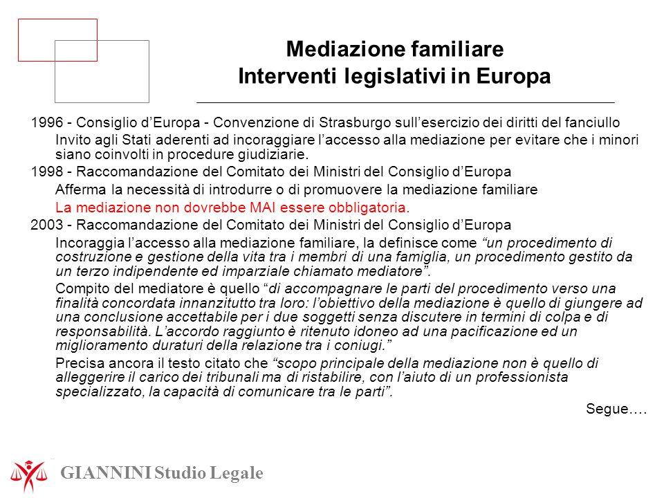 Mediazione familiare Interventi legislativi in Europa