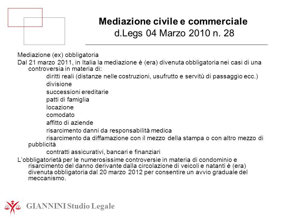 Mediazione civile e commerciale d.Legs 04 Marzo 2010 n. 28