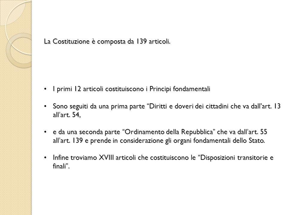 La Costituzione è composta da 139 articoli.