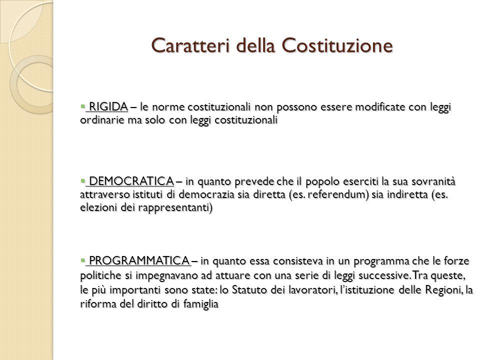 Caratteri della Costituzione
