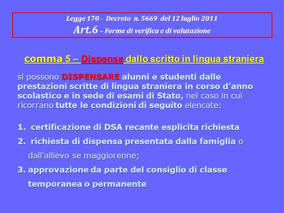 Art.6 – Forme di verifica e di valutazione