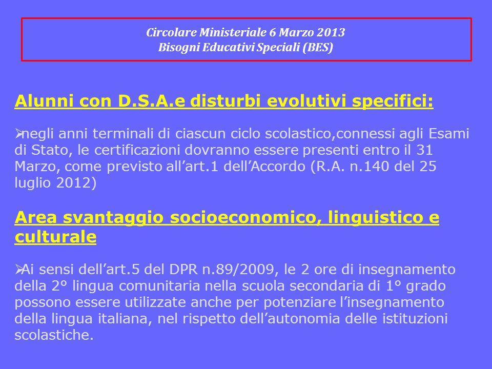 Circolare Ministeriale 6 Marzo 2013 Bisogni Educativi Speciali (BES)