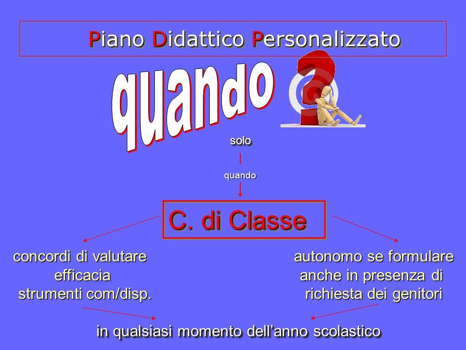 C. di Classe quando Piano Didattico Personalizzato