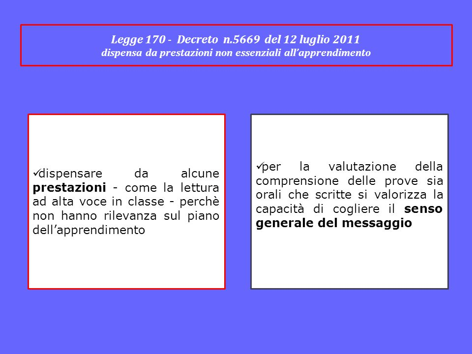 Legge 170 - Decreto n.5669 del 12 luglio 2011