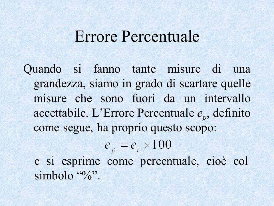 Errore Percentuale
