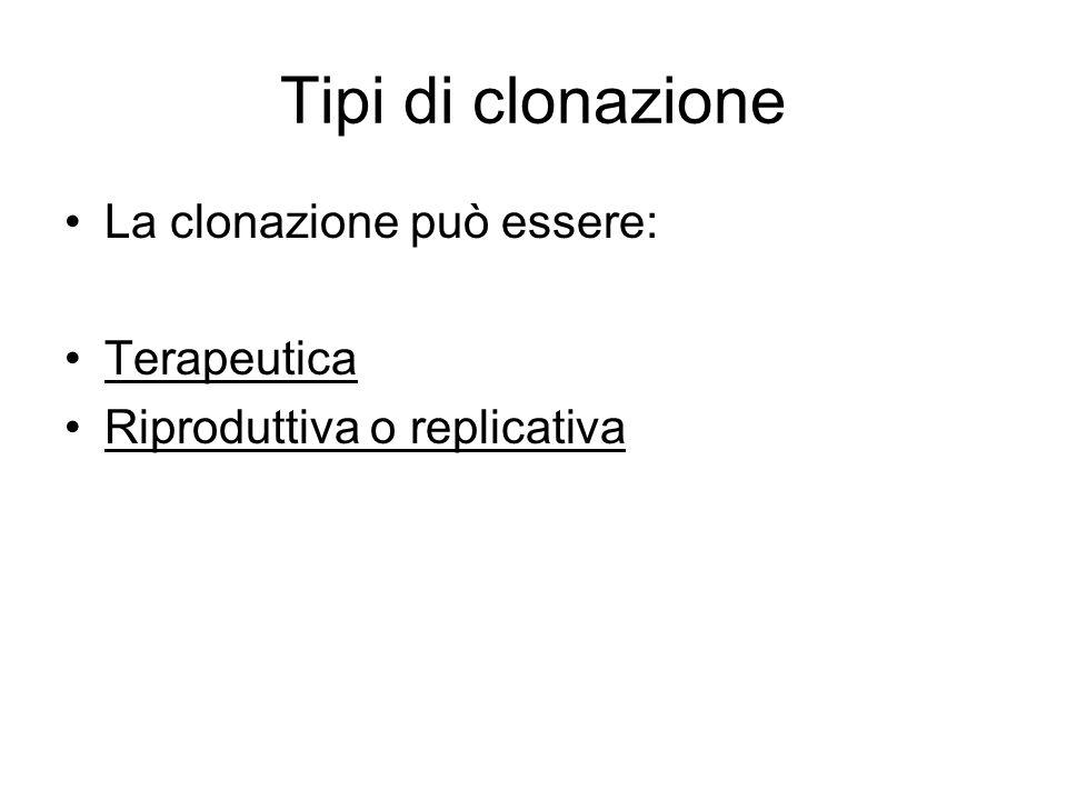 Tipi di clonazione La clonazione può essere: Terapeutica