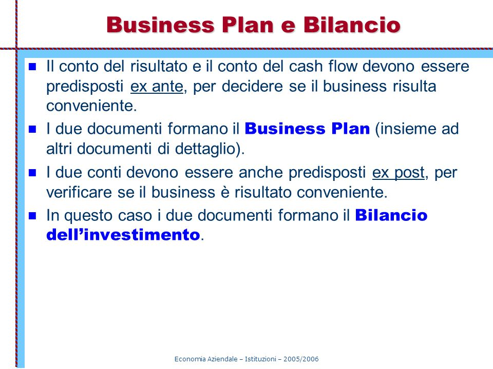 Business Plan e Bilancio