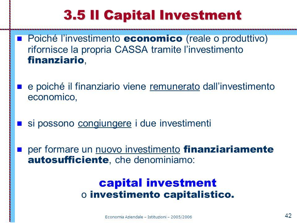 3.5 Il Capital Investment Poiché l'investimento economico (reale o produttivo) rifornisce la propria CASSA tramite l'investimento finanziario,