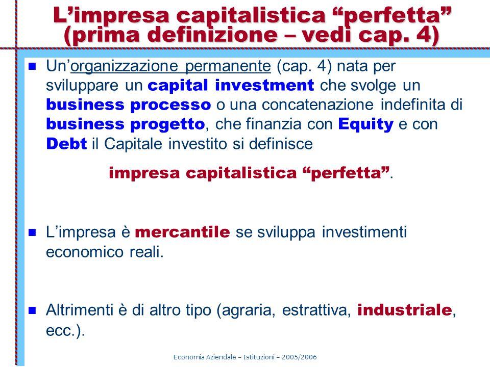 L'impresa capitalistica perfetta (prima definizione – vedi cap. 4)