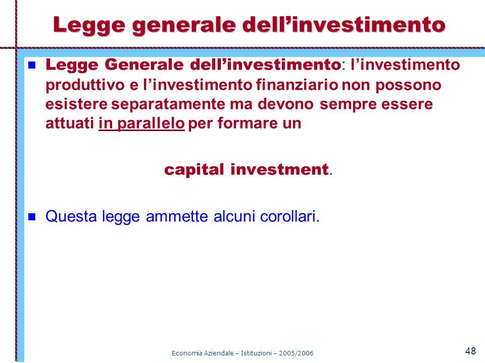 Legge generale dell'investimento