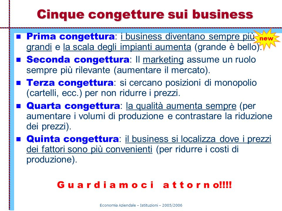 Cinque congetture sui business