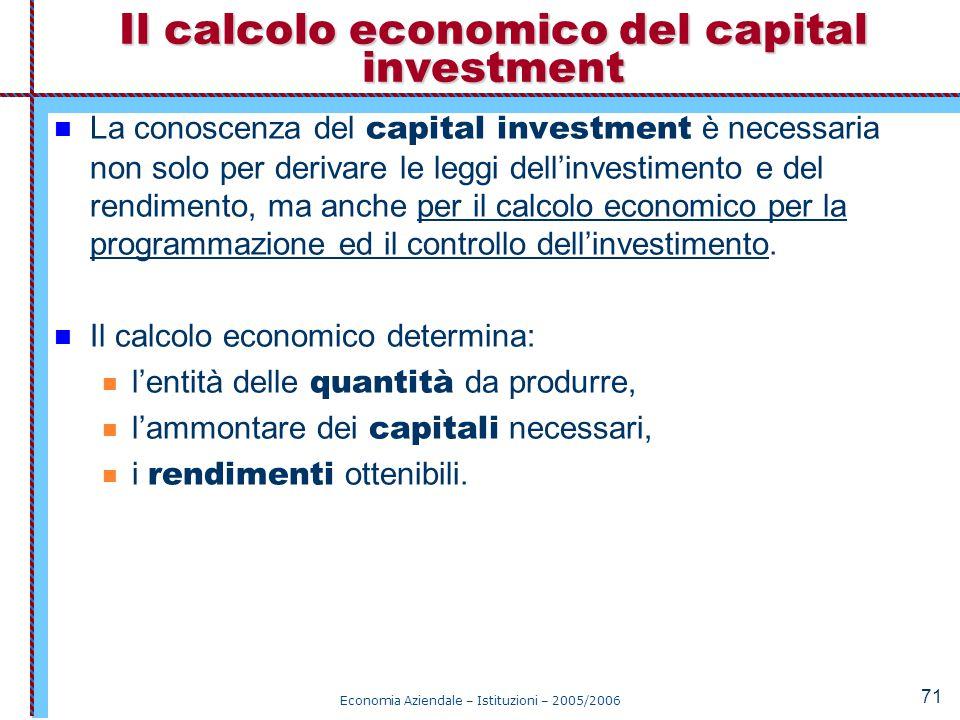Il calcolo economico del capital investment