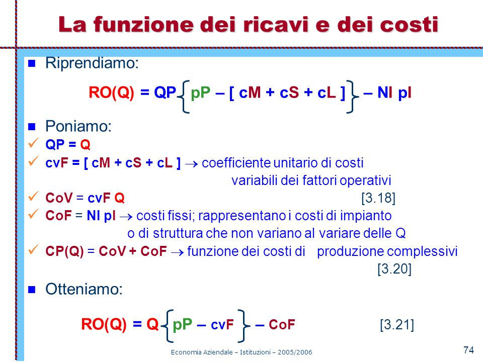 La funzione dei ricavi e dei costi