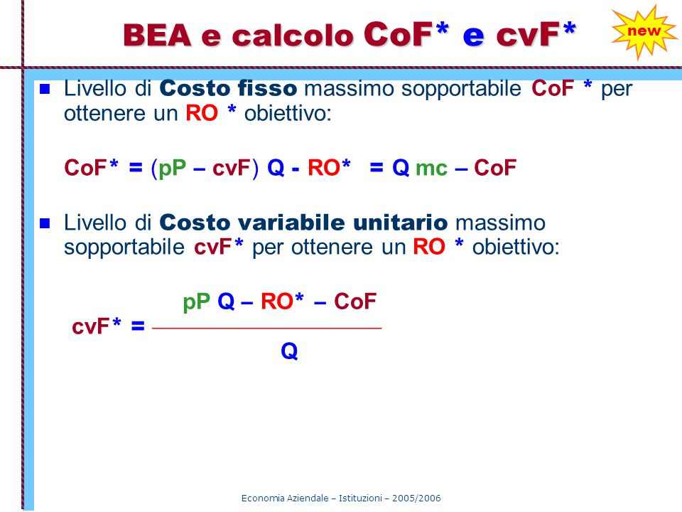 BEA e calcolo CoF* e cvF*