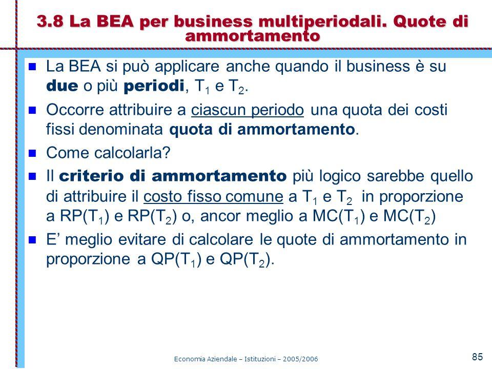 3.8 La BEA per business multiperiodali. Quote di ammortamento
