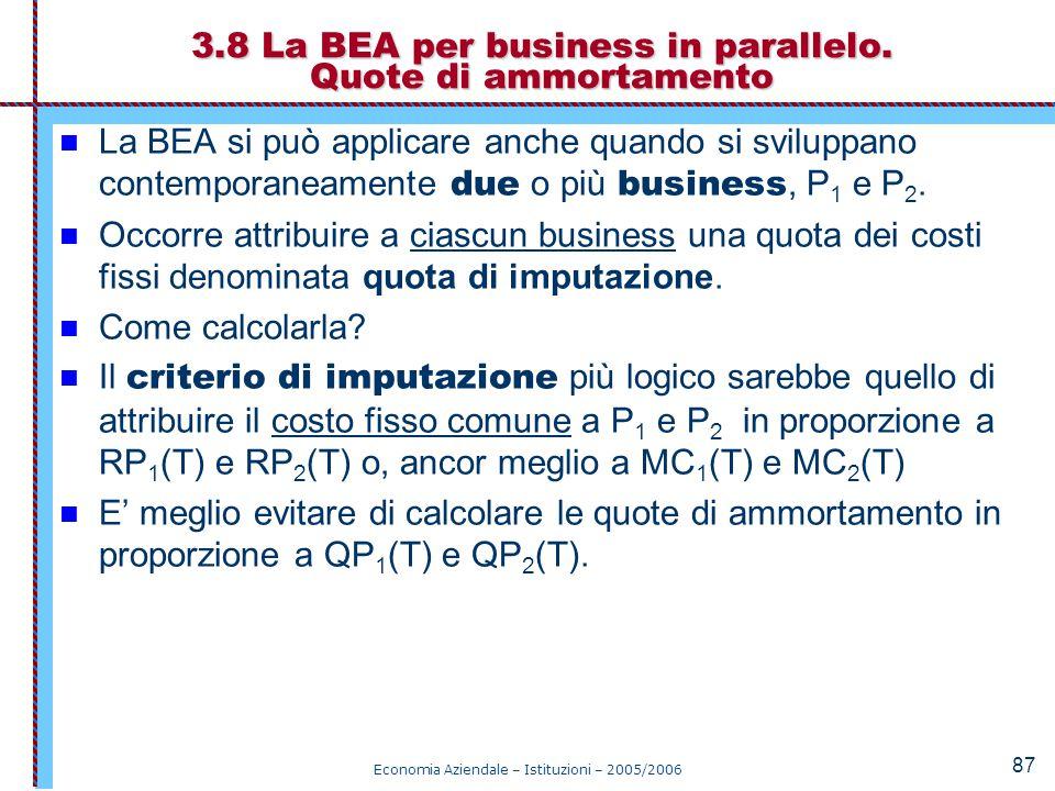 3.8 La BEA per business in parallelo. Quote di ammortamento