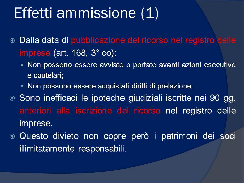 Effetti ammissione (1) Dalla data di pubblicazione del ricorso nel registro delle imprese (art. 168, 3° co):