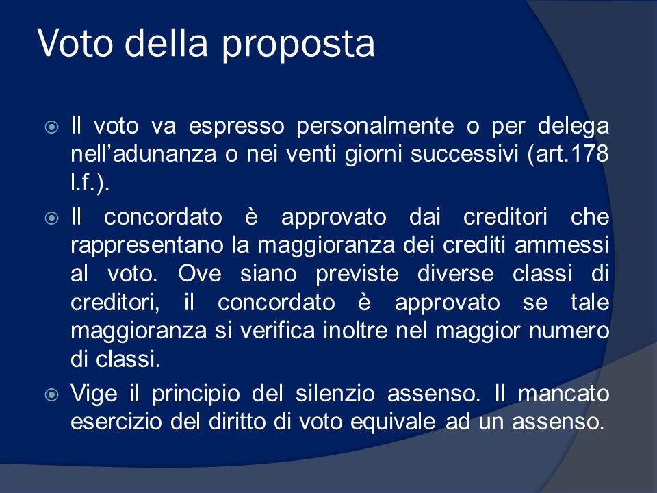 Voto della proposta Il voto va espresso personalmente o per delega nell'adunanza o nei venti giorni successivi (art.178 l.f.).