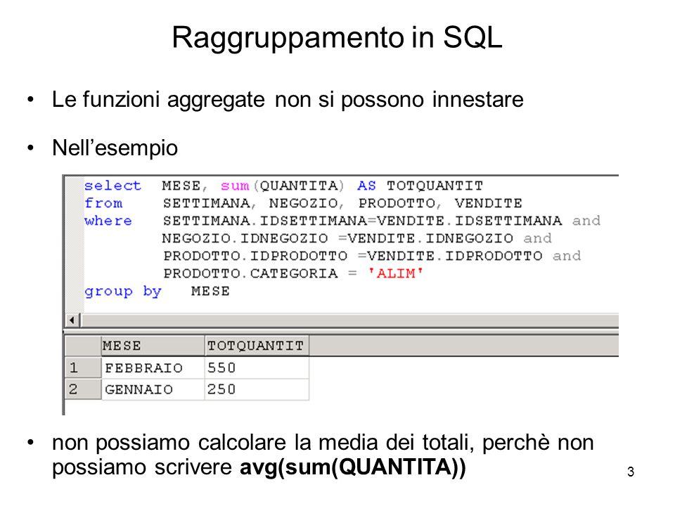 Raggruppamento in SQL Le funzioni aggregate non si possono innestare
