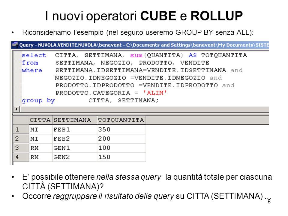 I nuovi operatori CUBE e ROLLUP